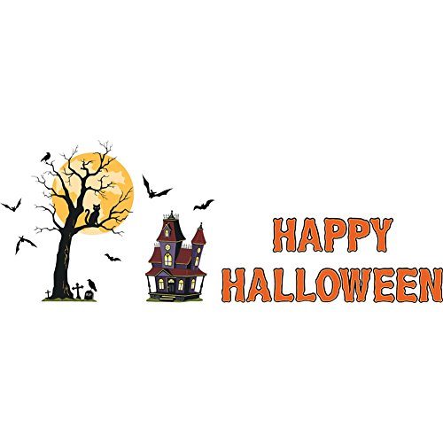 Halloween Garage Door Magnetic Haunted House with Tree