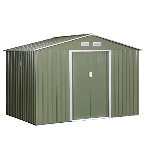 Outsunny 9 x 6FT Outdoor Garden Roofed Metal Storage Shed Tool Box with Foundation Ventilation & Doors Light Green