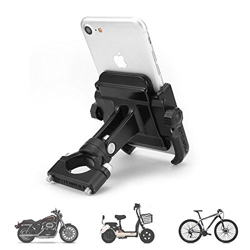 Motorcycle Phone Mount, Adjustable Anti Shake Metal Bike Phone Holder for iPhone X/8/7/6 Plus Samsung Galaxy S9/S8/S7/S6 GPS, Holds Devices up to 3.7' Width (Black)