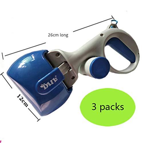Gmjay Chien Pooper Scooper Portable Petit Chien Merde Scoop avec Distributeur de Sac a Déchets Handheld Chiens Merde Pince Scoop,Blue