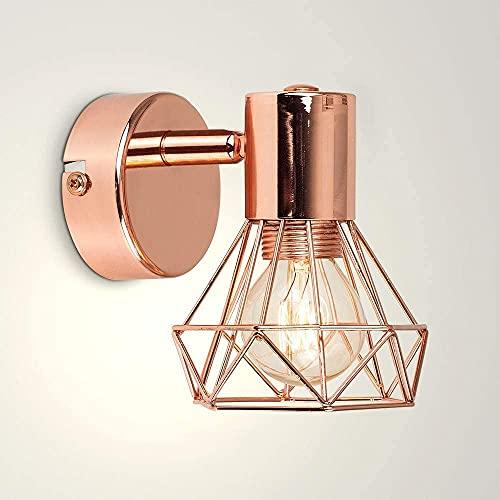 LED Applique Murale Or Rose Abat-jour Cage Métal Lampe de Mur Douille GU10 (amouple incluse), Petite Taille 12x15cm