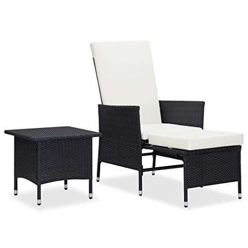 vidaXL Set Muebles de Jardín 2 Piezas y Cojines Muebles Exterior Terraza Cocina Hogar Mesa Silla Asiento Suave con Respaldo Ratán Sintético Negro