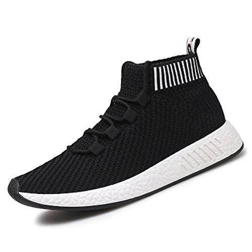 JHGK Casual Designer Mode Turnschuhe Laufende Männer Sport Socken Schuhe Adjustable Lace-Up Orthopädische Schuhe, Schuhe Aufstockung, Außenlaufschuhe,Schwarz,EUR41 / 255MM