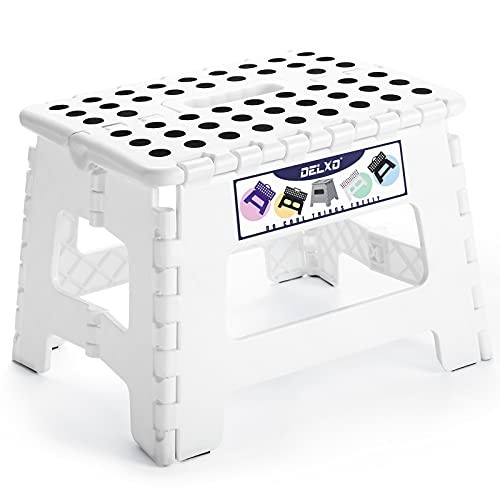 "Delxo 9"" Folding Step Stool in White,1 Pack Premium Heavy Duty Foldable Stool for Kids,Portable Collapsible Plastic Step Stool,Non Slip Folding Stools for Kitchen Bathroom Bedroom"