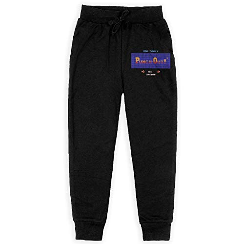 DAVIDLLOYD Boys Fashion Sweatpants Mike Tysons Punch Out Drawstring Elastic Waist with Pocket Running Casual Pants Black S