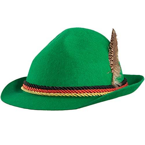 dressforfun 302851 Trachtenhut mit Feder und Deutschland Kordel, Jägerhut für Oktoberfest, Trachten Party, grün