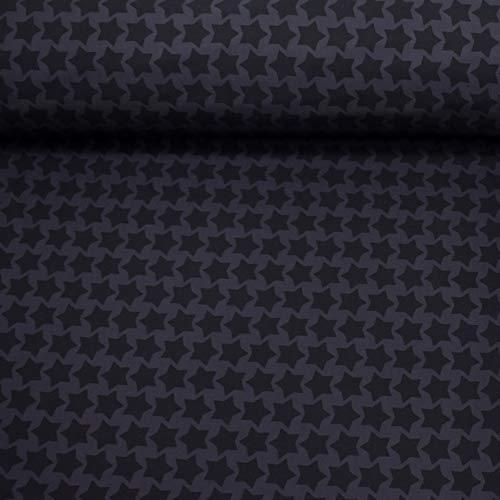 MAGAM-Stoffe Jori Softshell Stoff Kleidung Kinder Oeko-Tex Meterware 50cm (Sterne anthrazit schwarz)