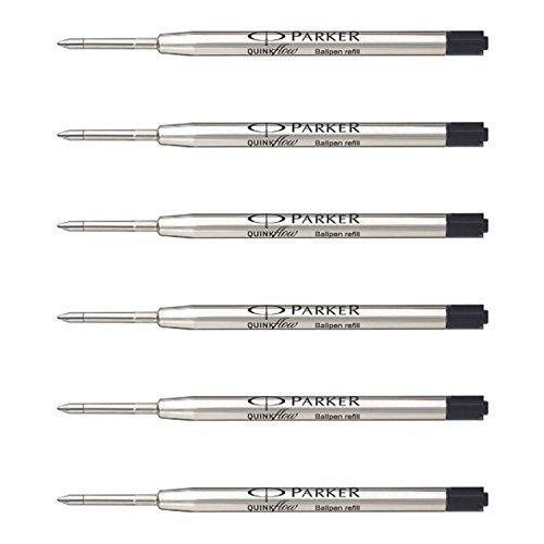 Parker QuinkFlow Ink Refill for Ballpoint Pens, Medium Point, Black Pack of 6 Refills (1782469) by Parker