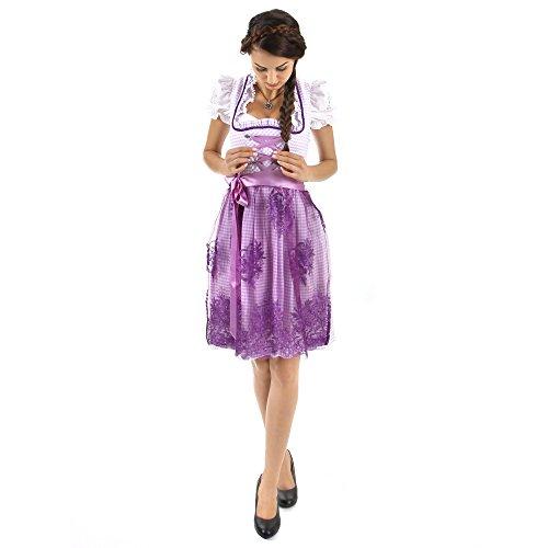 Almbock Exclusive Mini-Dirndl Camille lila violett in Gr. 34 36 38 40 42 - mit Blumen-Stickerei und Strass-Steinchen