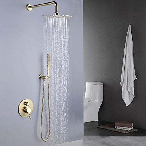 DXX-HR Juego de ducha oculto de cobre dorado cepillado cepillado antiguo búnker de ducha montado en la pared, grifo de ducha no se oxida