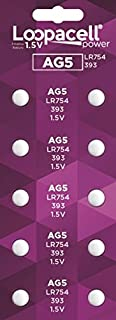 LOOPACELL 10 Pack AG5 LR754 393 SR48 1.5 Volt Alkaline Cell Watch Batteries
