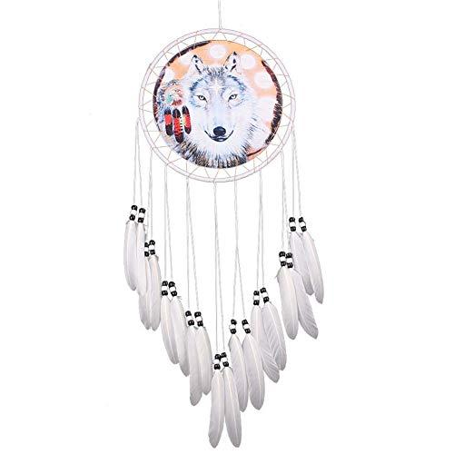 Homieco Atrapasueños artesanal Fantástico adorno para colgar en la pared, diseño de lobo natural de plumas y lobo para decoración del hogar, para dormitorio, coches, 20 cm de diámetro x 71 cm
