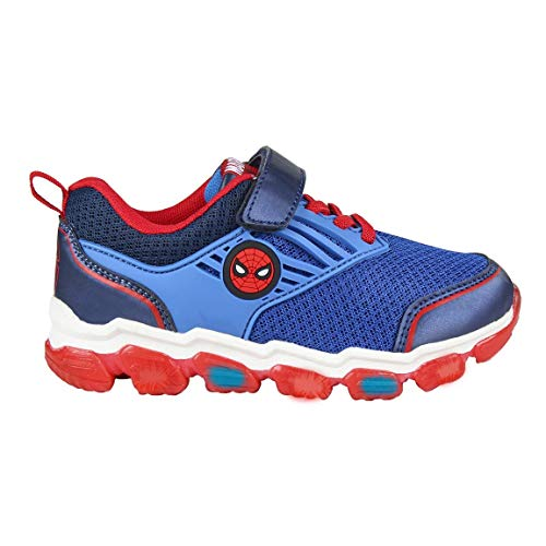 CERDÁ LIFES LITTLE MOMENTS Cerdá-Zapatillas Luminosas de Spiderman de Color Azul, Gris Perla, 27 EU