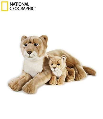 National Geographics Löwin Stofftiere Mutter mit Baby Plüsch Spielzeug (2-teilig, Natur)