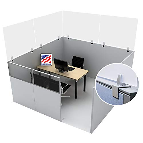 SPEEDYORDERS Cubicle Sneeze Guard, 24'W x 16'H (Includes 2 clamps) 1/4' Thick Clear Cubicle Divider Acrylic Plexiglass Shield With Removable Clamps For Offices, Cubicle Wall Extender, Wall Partition