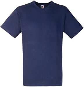 Fruit Of The Loom - Camiseta para hombre, manga corta, cuello de pico azul (azul marino) Large