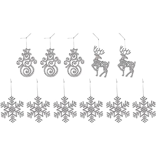 Glittering Reindeer and Snowman Holiday Decorations