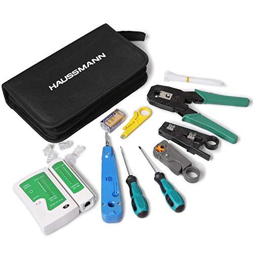 Haussmann Netzwerk Werkzeug Set (12 in 1) mit Crimpzange & digitalem Netzwerktester (RJ11, RJ12 & RJ45 Stecker) - inkl. LSA Auflegewerkzeug u.v.m.