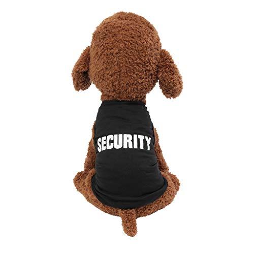 Smniao Sommer Hundebekleidung, Schwarz Security Print Haustier Weste T Shirt für Welpen Chihuahua Teddy Puppy Breathable Kostüm Pet Bekleidung(Schwarz, L)