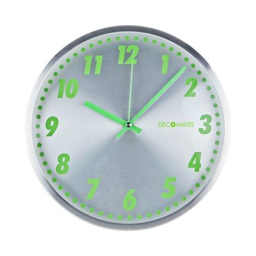 DecoMates Non-Ticking Silent Wall Clock - Aluminum Green