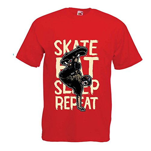 Männer T-Shirt Eat-Sleep-Skate-Repeat Fro Skateboard Liebhaber, Skateboarder Geschenke, Skateboarden Kleidung (Medium Rot Mehrfarben)