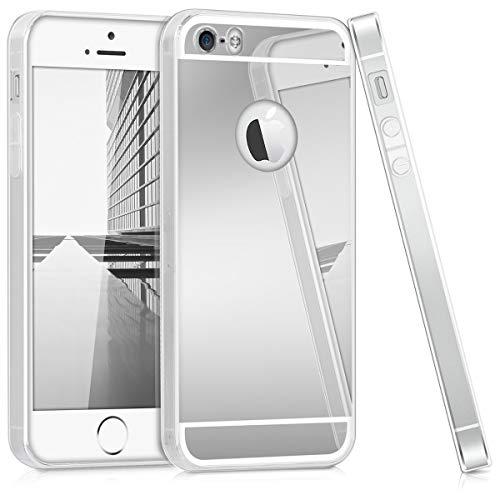 kwmobile Hülle kompatibel mit Apple iPhone SE (1.Gen 2016) / 5 / 5S - Handyhülle - Handy Case in Silber spiegelnd