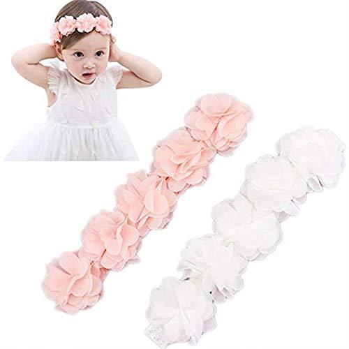 Baby Elastic Chiffon Flower Headbands Princess Girls Hand Sewing Beads Flower Headwear (XW1005 Pink White)