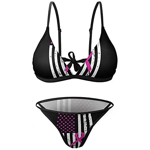Cinta Rosa Cáncer de Mama Awareness Bandera Sexy Traje de baño Traje de baño Playa Bikini Set Traje de baño 2 piezas para mujer