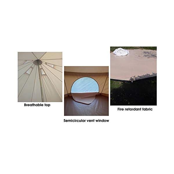 RuanYF Bell Tent, Diameter 9.84ft 100% Cotton Canvas Waterproof Large Tents 4 Season Waterproof Outdoors Yurt Bell Tent… 3