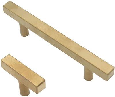 King Force Gold Cabinet Pulls, Brushed Brass Drawer Pulls, Kitchen Brass Hardware Pulls, Square Modern Cabinet Hardware Handles, Single Hole, 10 Pieces Set(SG00010)