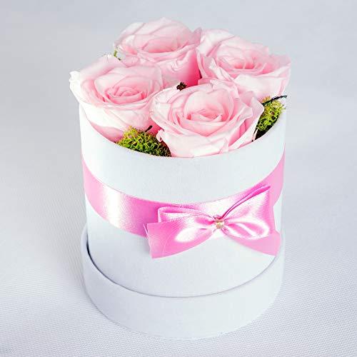 SWEET ROSE DREAMS, Ewige Rosen, Konservierte Rosenblumenschachtel, Echte gefriergetrocknete Blumen, Valentinstag, Letzte 3 bis 5 Jahre, 4-5 Rosa Rosen, Weiß Velours-Geschenkschachtel.