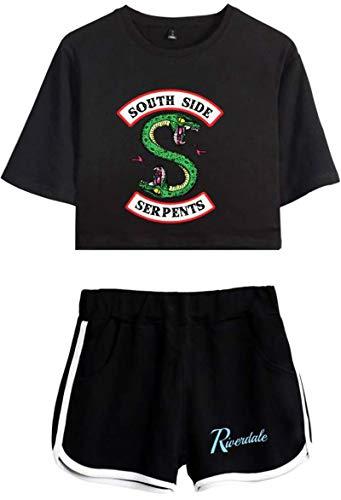 Yesgirl Damen Kurzarm Mode T-Shirts + Kurze Hose Sets Sport Causal Streetwear Bekleidungsets mit Riverdale Southside Serpents Druck A Schwarz Schwarz 04 X-Small
