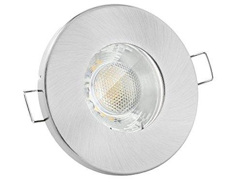 linovum® Feuchtraum LED Einbaustrahler 3W flach IP65 gebürstet mit Wasserschutz für Bad, Dusche oder Außen warmweiß 2700K
