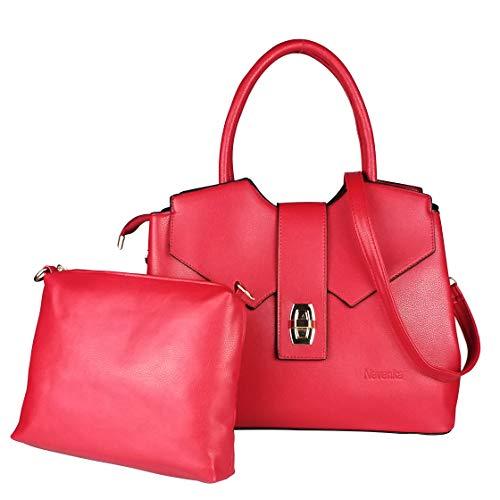 Nevenka Women's Tote Shoulder Handbag, PU Leather Fashion Satchel Purse Bag for Women with Adjustable Shoulder Strap(Red)