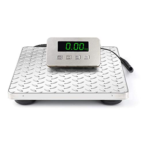 """OKAKOPA Shipping Scale, Heavy Duty Digital for Shipping and Postal W/ 12""""X 12"""" Durable Stainless Steel Large Platform, 440 lbs Capacity (12""""12"""", Sliver)"""