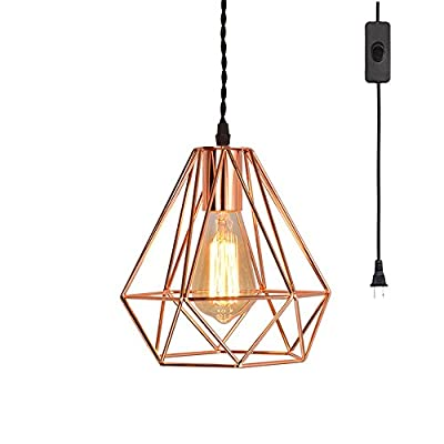 EFINEHOME Vintage Industrial Rose Gold Pyramid Metal Cage Pendant Light with 15' Toggle Switch Black Fabric Plug-in Cord 1-light Hanging Lamp Loft Rustic Home Decor
