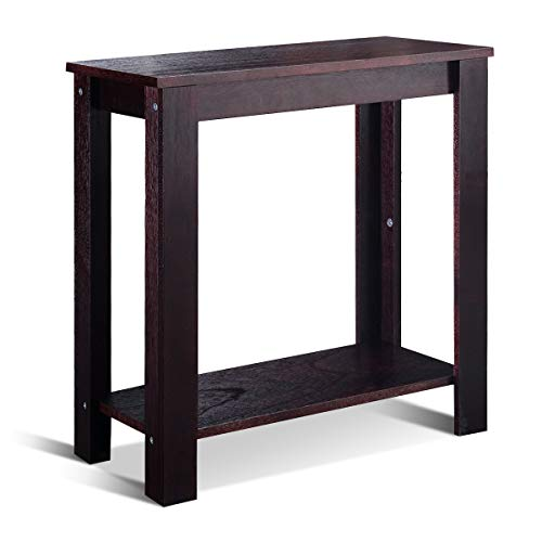 Goplus Tavolo Consolle con Gambe in Legno Tavolino d'Ingresso Facile da Montare 61x59,6x29,5 cm