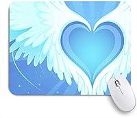 VAMIX マウスパッド 個性的 おしゃれ 柔軟 かわいい ゴム製裏面 ゲーミングマウスパッド PC ノートパソコン オフィス用 デスクマット 滑り止め 耐久性が良い おもしろいパターン (柔らかい天使の放射状の輪郭が描かれた青いハートの美しいグラフィックライン標識記号)