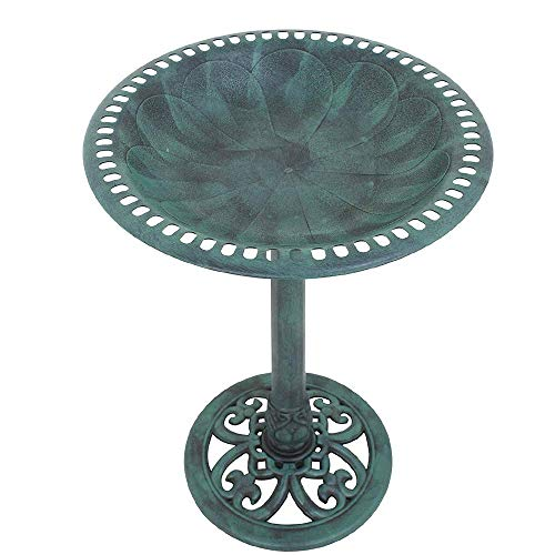 "HomGarden Pedestal Bird Bath, Antique Green Effect, 20"" Wide x 28"" High (Antique Green)"