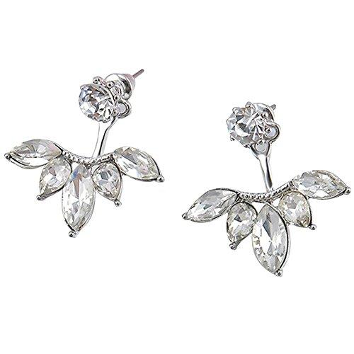 1 Par De Pendientes De Flores De Diamantes De ImitacióN De Cristal Para Mujer De Moda(Blanco)