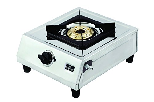 SUNSHINE Stainless Steel Supreme All 1 Burner Gas Stove Manual Ignition ISI Certified (Silver)
