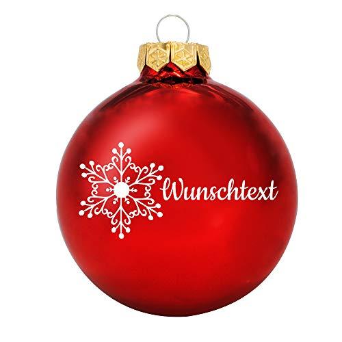 Deitert Weihnachtskugel mit Wunschtext Gravur, Ø 8cm, personalisierte Christbaumkugel aus Glas (glänzend), Individueller Weihnachtsbaumschmuck Namen oder Spruch, Schneeflocken-Motiv, Rot