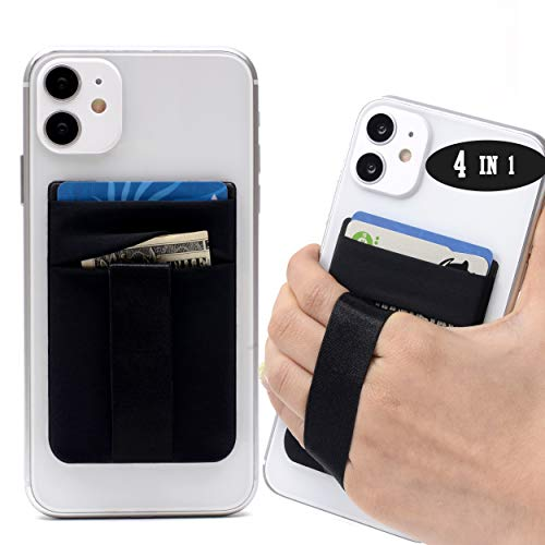 Polifall Cell Phone Card Holder Stick On Wallet Sleeve Back - Double Pocket + Finger Grip Strap Loop + Metal Plate for Magnet Mount + RFID Block for iPhone, Galaxy, Android, Mobile - Black