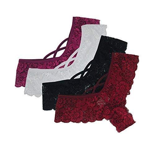 KaloryWee 4pc String Femme Culotte Dentelle Sexy Soie Hot Taille Basse Noir sous-vêtement Lingerie Shorty Slip (S, Multicolore-1)