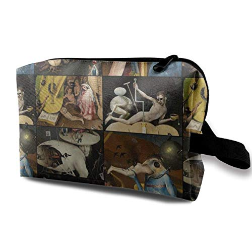 wenxiupin Bosch's Garden of Earthly Delights. Dark_5293 Toiletry Bag Cosmetic Bag Portable Makeup Pouch Travel Hanging Organizer Bag for Women Girl 10x5x6.2 Inch