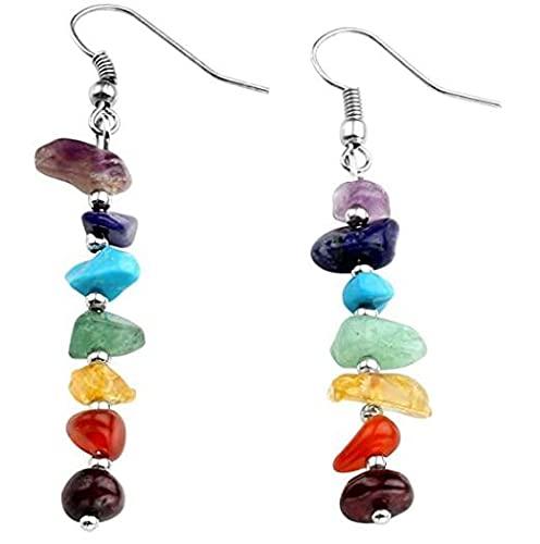 Cakunmik Pendientes para Mujer, Pendientes de Terapia de energía Reiki, 7 Perlas de Piedra, Pendientes curativos de Chakra, Pendientes de Stud