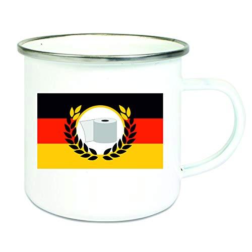 Crealuxe Emaille Tasse mit Rand Deutschlandfahne mit Klopapier - Kaffeetasse mit Motiv, Campingtasse Bedruckte Emaile-Tasse mit Sprüchen oder Bildern