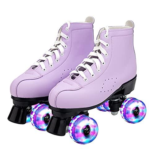 Rollschuhe Roller Skates Erwachsene Zweireihige Skates Rollschuhe Erwachsene Männer und Frauen Zweireihige Allrad-Flash-Rollschuhe,Purple,34