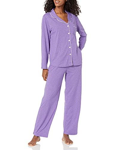 Karen Neuburger Women's Long-Sleeve Girlfriend Pajama Set PJ, Dot Plum Heather Purple, Small