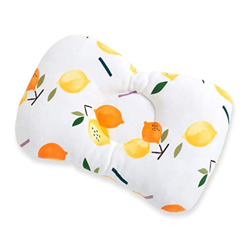 Baby Pillow, Groove Design, Prevent Flat Head, Lemon Print 30X23cm, Suitable For Head Shaping Of Newborn Babies From 0-6 Months